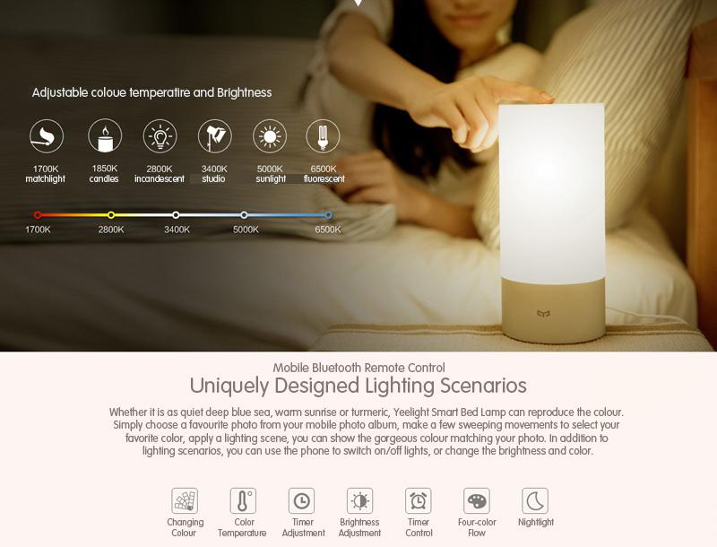 Xiaomi Yeelight Bedside Lamp - Chytrá lampička umí měnit barvy wifi bezdrátové ovládání istage xiaomimarket lampa osvětlení heureka
