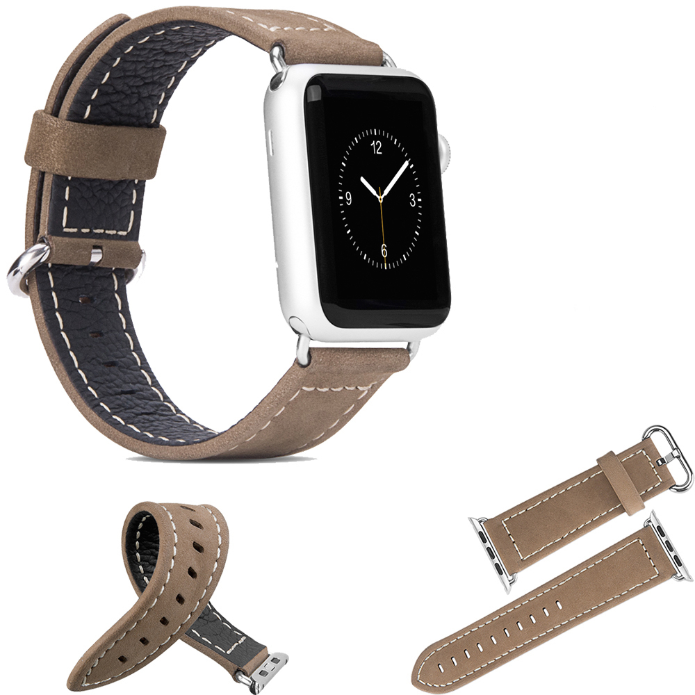 For-Apple-Watch-Band-Genuine-Cow-Leather-Strap-Silver-Metal-Watch-Buckle-For-iWatch-Band-Adapter