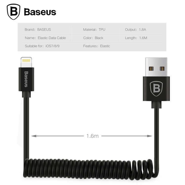 10Pcs-Lot-Original-Baseus-Elastic-Data-Cable-Series-TPU-Black-1-8A-1-6M-Data-Cable-1 copy