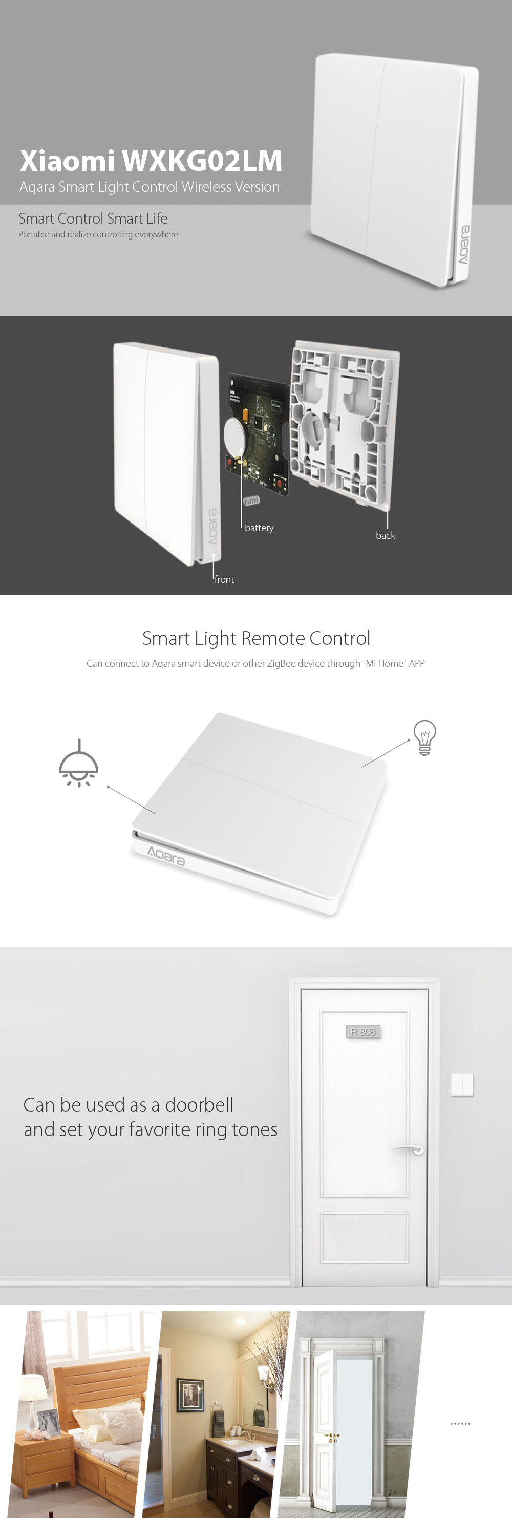 Xiaomi Aqara Smart Light Control font b ZiGBee b font Wireless Key Xiaomi Aqara wall switch Wireless - Bezdrátový spínač
